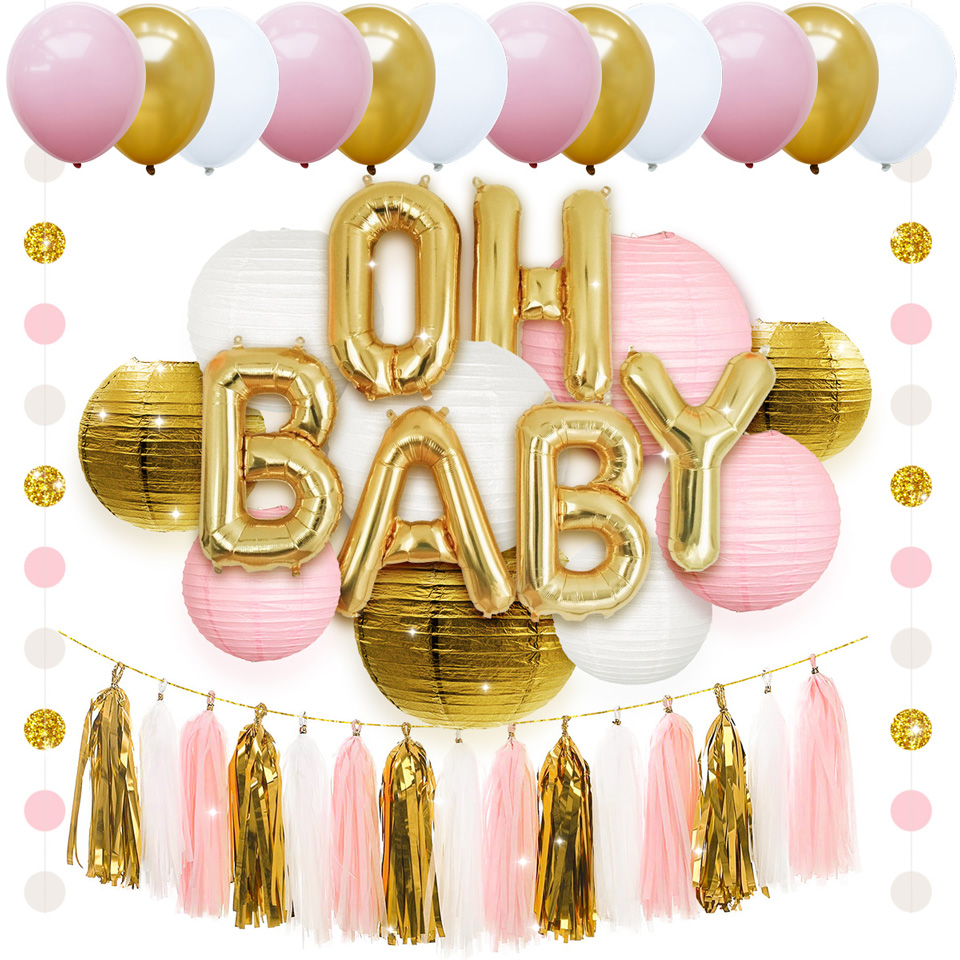 NICROLANDEE 43 pièces mélange de couleurs ballons à Air lanterne en papier gland suspendus bricolage bébé douche décorations de fête d'anniversaire enfants Globos