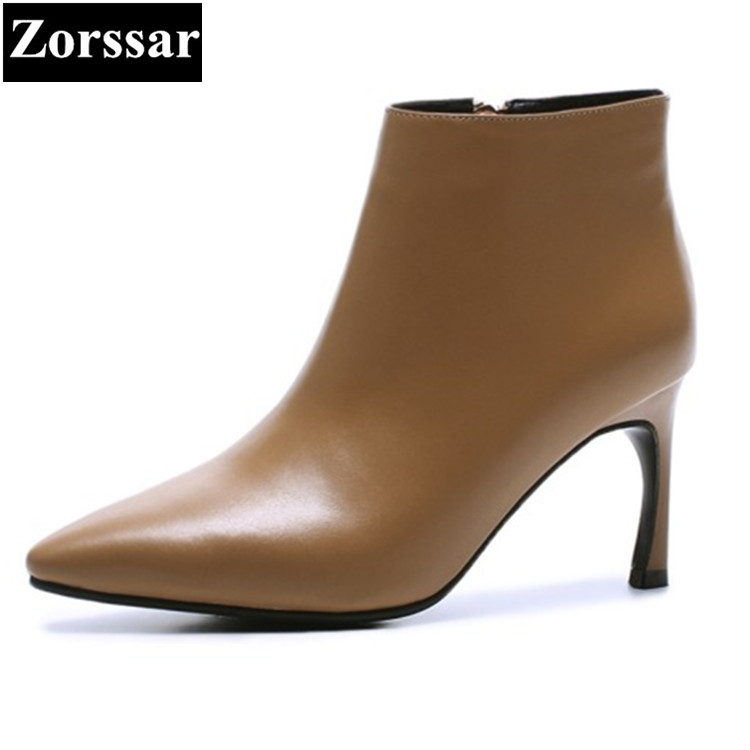 {Zorssar} 2017 NEW autumn winter Womens shoes pointed Toe thin heels ankle boots High heels Genuine Leather fashion women boots arrylinfashion british fashion all match ankle boots top leather autumn botas femininas pointed toe charming thin high heels