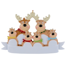 Reindeer Family Of 6 Resin Hanging Personalized Christmas ornaments As For Holiday or New Year Gifts Home Decoration