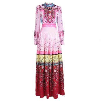 High quality 2017 designer Fashion runway Printed Maxi dress Long sleeve Bohemia Diamonds multicolor Retro Indie Folk long dress