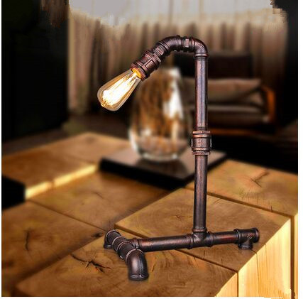 Retro design industrial iron water pipes creative desk lamps ...