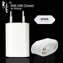 цена на EU Plug White Color Wall AC USB Charger For iPhone 8 Pin USB Charging Cable + Charger Adapter For Apple iPhone 4 5 5S 5C 6 6S 7