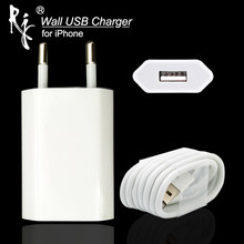 EU Plug White Color Wall AC USB Charger For iPhone 8 Pin USB Charging Cable + Charger Adapter For Apple iPhone 4 5 5S 5C 6 6S 7(China)