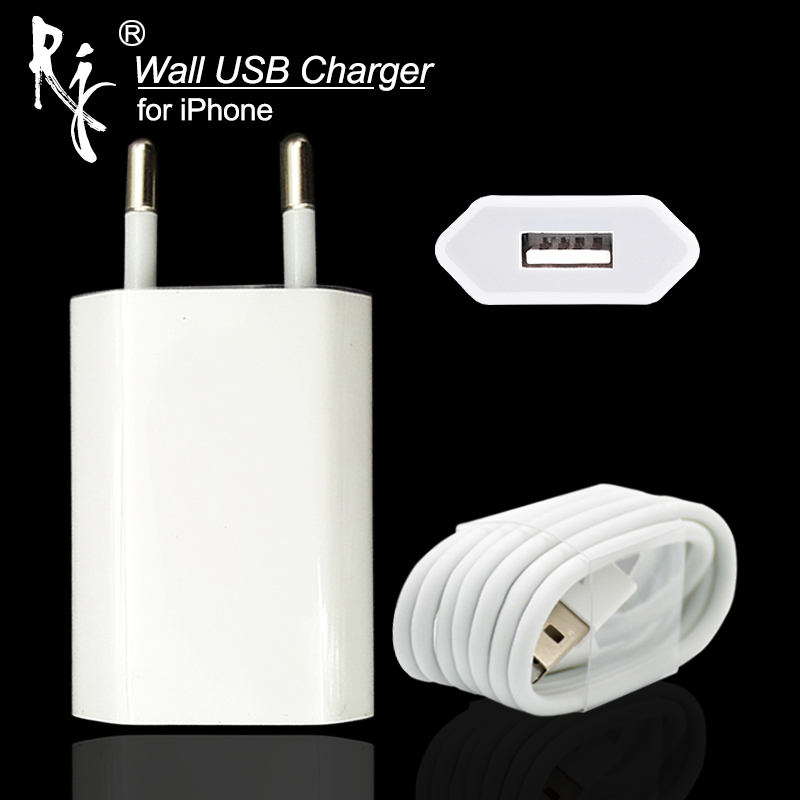 EU Stecker Weiße Farbe Wand AC USB Ladegerät Für <font><b>iPhone</b></font> 8 Pin USB Ladekabel + Ladegerät Adapter Für Apple <font><b>iPhone</b></font> 4 5 5 S 5C <font><b>6</b></font> <font><b>6</b></font> S 7 image
