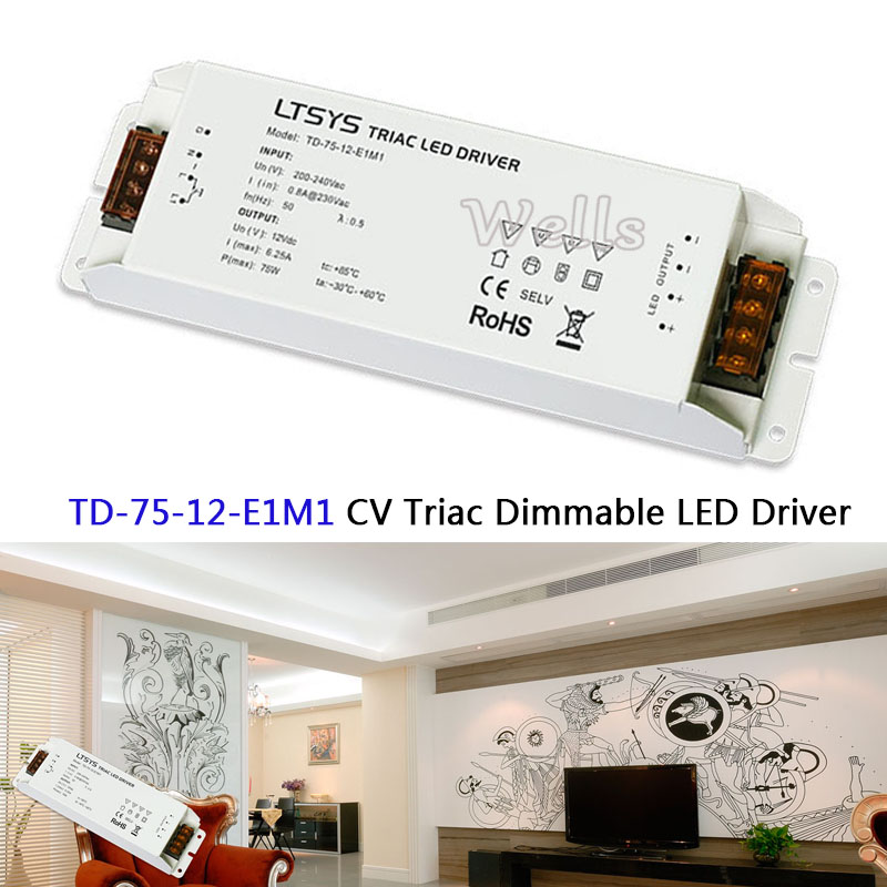 TD-75-12-E1M1 intelligent led driver;12VDC 6.25A 75W constant voltage Triac Dimmable LED Driver Triac Push Dim купить в Москве 2019