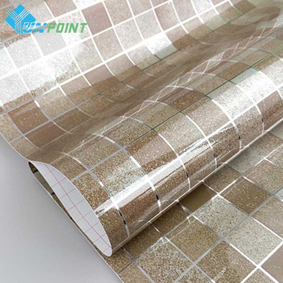 45cmx3m bathroom tile diy wall sticker coffee mosaic decorative film pvc self adhesive wallpaper waterproof