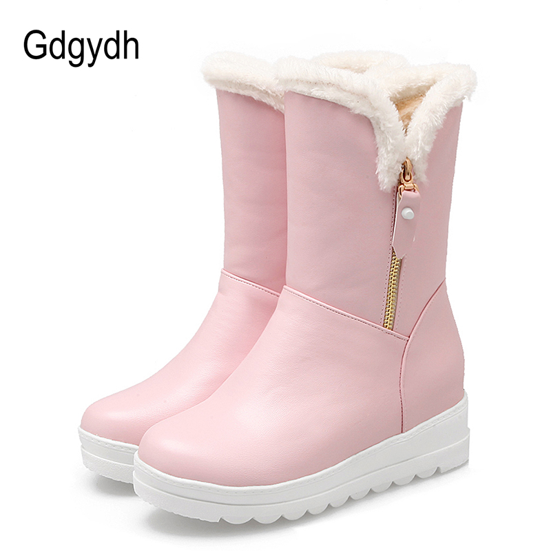 Gdgydh Black White Warm Winter Boots For Women Ankle Boots Plush Inside Anti-skid women Winter Shoes Russia Zipper Big Size 43 mama heart pattern baby anti skid shoes white light brown