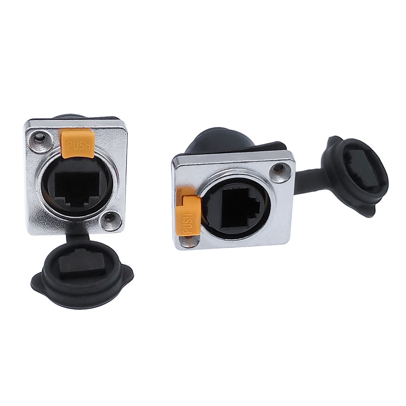 Rj45 Waterproof Connector Panel Mounting Rj45 Socket Jack Connector 8p8c Right Angle Bending Ethernet Plug IP65