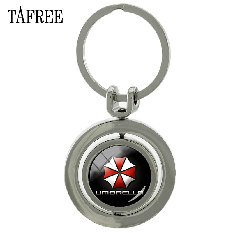 TAFREE Resident Evil Umbrella Revolving Pendant Keychain Trendy New Fashion Metal Pendant Key Chain Keyring Car Key Jewelry CT71 trendy solid color metal shovel shape keyring