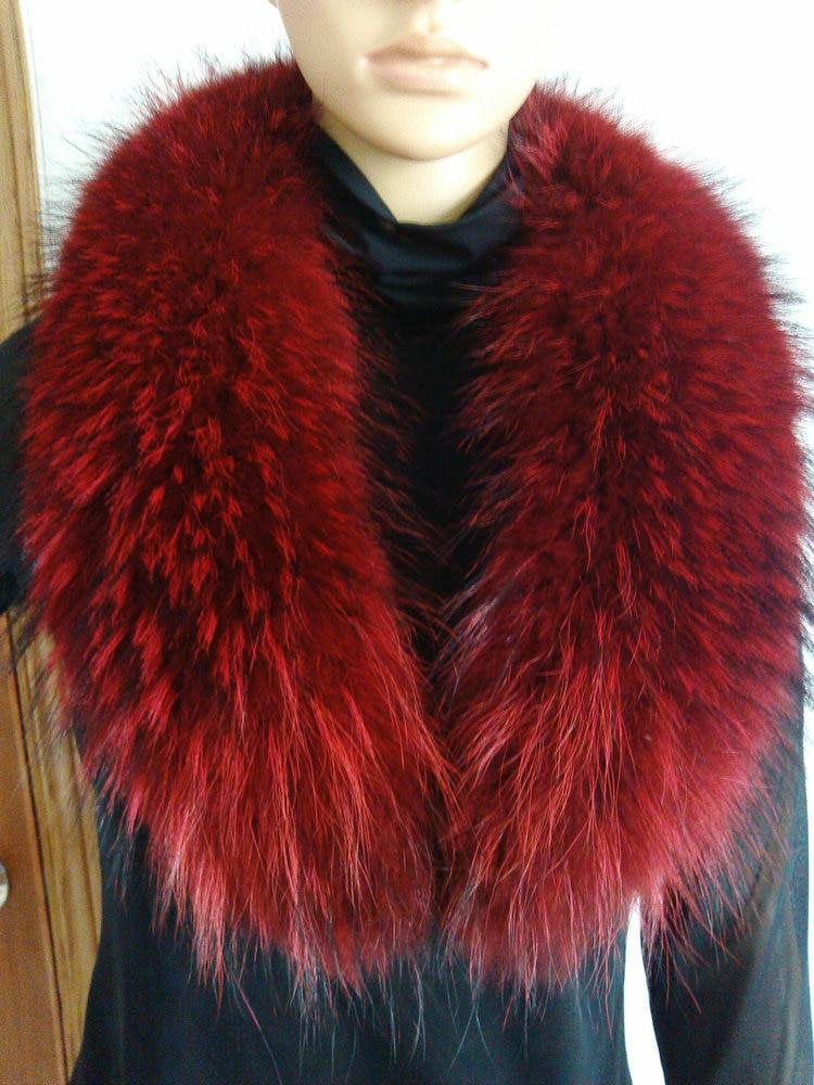 Free Shopping Winter 2015 Big Raccoon Fur Bright Red Fur