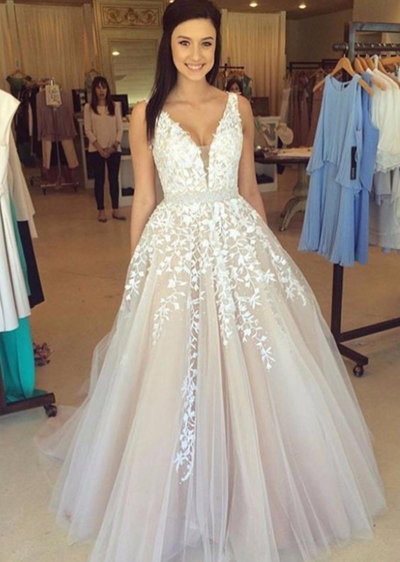 wunderschöne v-ausschnitt applique spitze tüll puffy abendkleider kleider  2019 frauen lange pageant kleid ballkleider prom engagement kleider