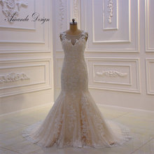 Amanda Chen Design Cap Sleeve Mermaid Wedding Dress