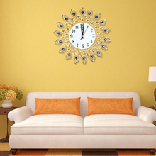 37cm Diameter Luxury Diamond Gold Peacock Frame Large Wall Clock Antique Style Metal Craft Living room Decorative Wall Clock