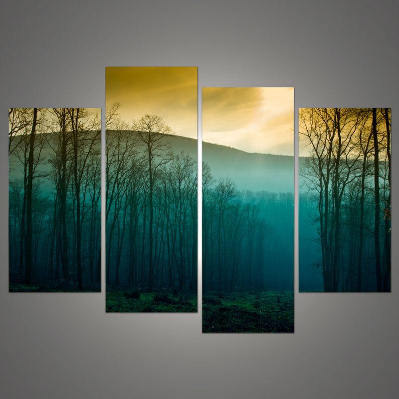 Лидер продаж! Современные Аннотация огромный Wall Книги по искусству модульные картины на холсте, восход дерево Пейзаж изображения HD