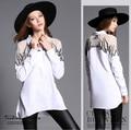 Blusas da moda Primavera Verão 2016 Mulheres Elegantes Camisas Casual Tops Longa Blusa Branca Flor Bordado Do Vintage Plus Size NS230