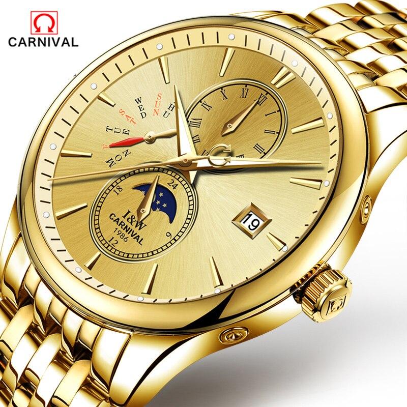 CARNAVAL 2018 Homens Relógios Top De Luxo Da Marca Esporte Relógio Mecânico Ouro Relógio Homens de Aço relógio de Pulso Automático Com a Fase Da Lua Cheia