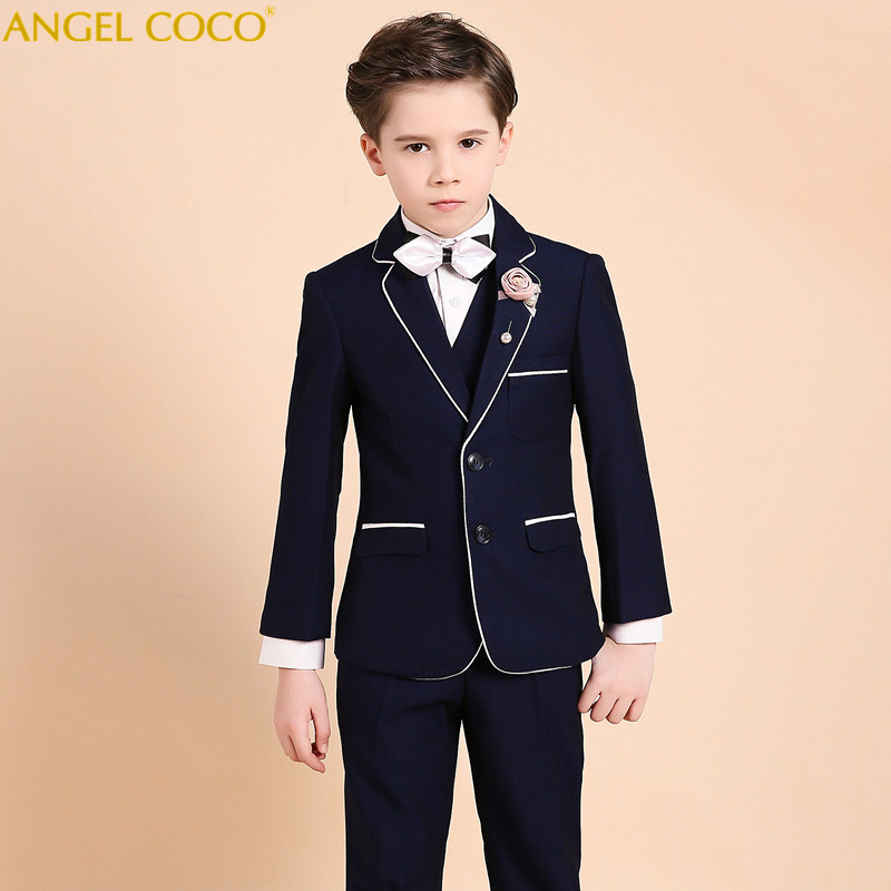 Boys Suit Male Flower Girl Dress Boy Piano Costumes Navy Blue Suits Big Children'S Clothing Boys Suits For Weddings Menino kimocat boy and girl high quality spring autumn children s cowboy suit version of the big boy cherry embroidery jeans two suits