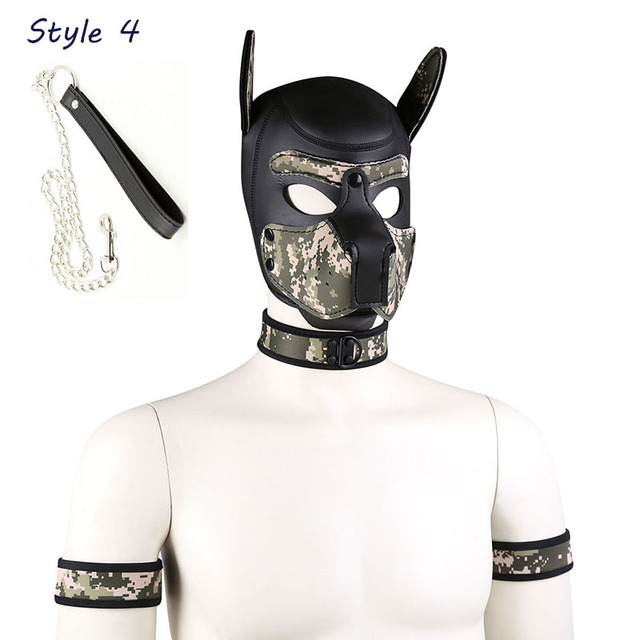 Soft Padded Latex Rubber Puppy Cosplay Role Play Dog Mask Full Head with Ears K