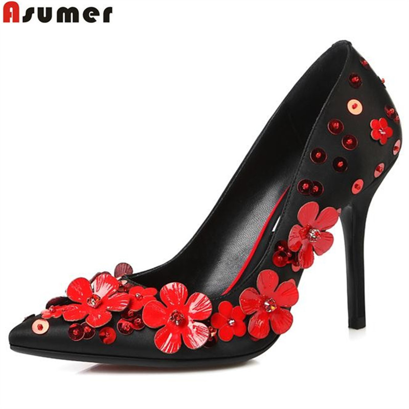 Asumer high quality genuine leather shoes woman fashion stiletto high heels  simple slip on pointed toe ee914dd6613c