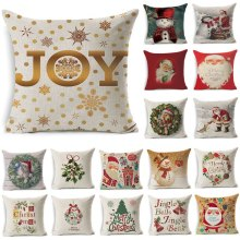 1Pcs 4343cm Christmas Tree Snowman Pattern Cotton Linen Throw Pillow Cushion Cover Car Home