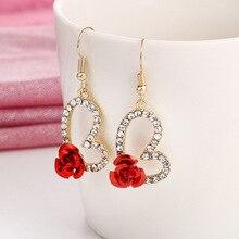 Fashion Cute Red Rose Flower Crystal Drop Earring For Women Trendy Hollow Heart Dangle Statement Earrings Wedding Party Bijoux