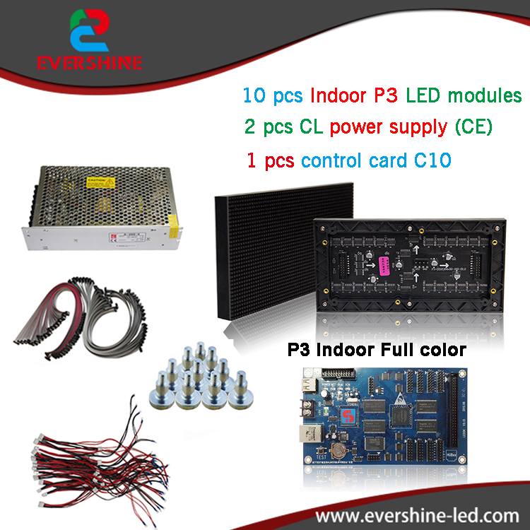 DIY P3 LED Display screen,SMD Indoor full color Module 10pcs+1 pcs Control card C10 +CL Power supply 2pcs,P3 RGB Led Sign free shipping p5 indoor smd 3in1 full color led panel display module 1 16scan 320 320mm