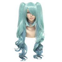 MCOSER 80CM Long Wavy Cosplay Wig Two Ponytail Mix bule Synthetic Hair Heat Resistant 100% High Temperature Fiber WIG 077A