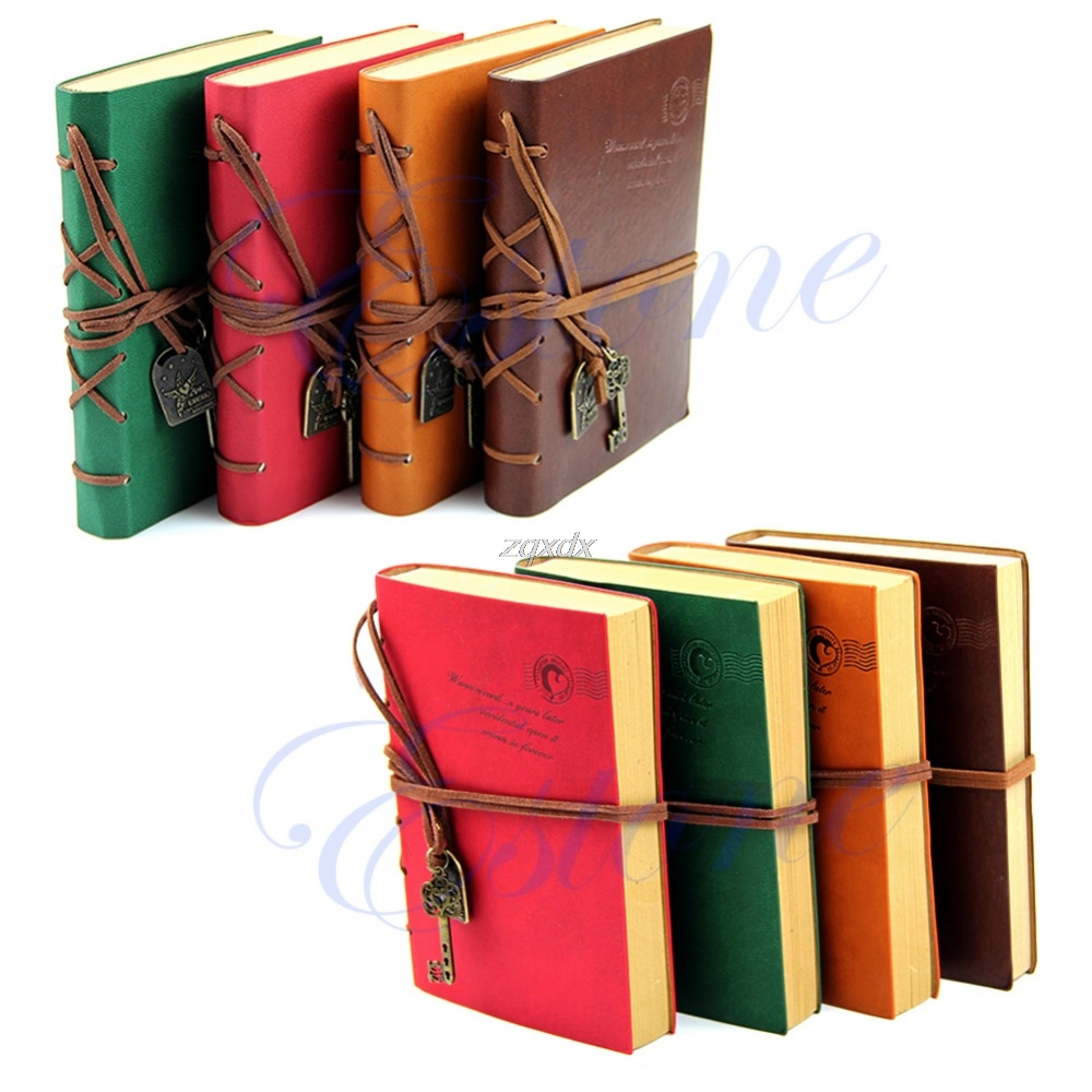 Classic Retro Vintage Leather Bound Blank Pages Journal Diary Notepad Notebook Z11 Drop ship