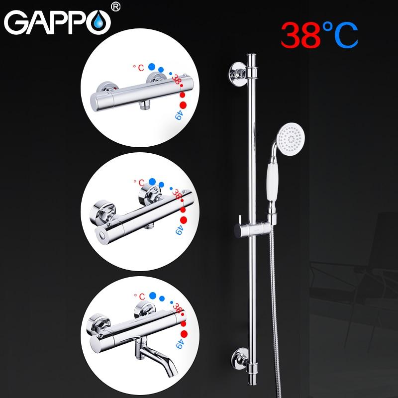 GAPPO Douche Glisser Bars salle de bains thermostat de douche mélangeur bain douche robinet mur monté réglable rail rond tête de douche