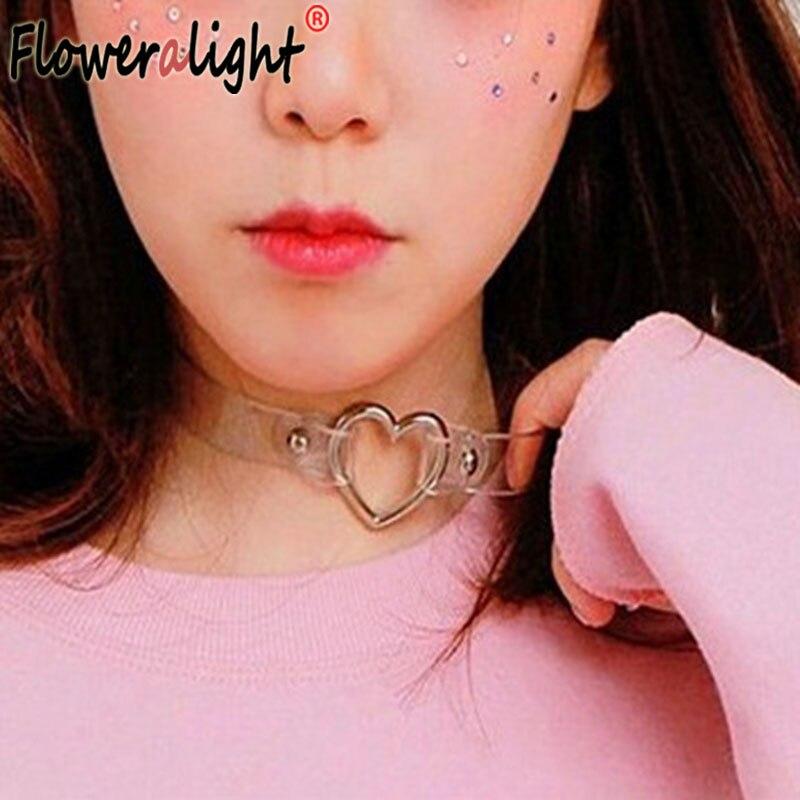 Harajuku Fashion Punk Jewelry Sweet Heart Necklace, Clear Transparent PU Leather Choker Punk Goth 100% Handmade Collar Necklace
