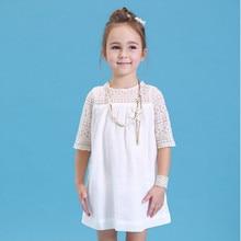 Удобные Хлопковые Кружево Платье для маленьких девочек дети 2018 новые летние детская одежда белый Кружево принцессы Милые тонкие Платья для женщин Размеры От 3 до 11 лет