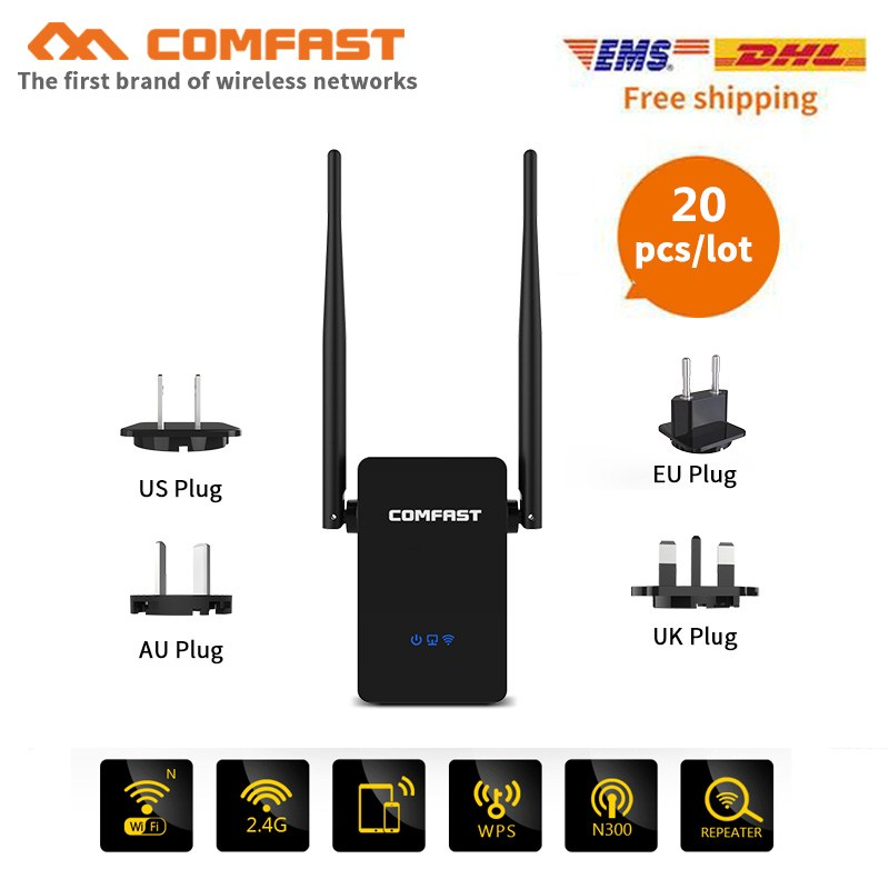 20pcs COMFAST Wireless Wifi Repeater CF-WR302S Gsm 300Mbps 2x5dBi WIFI Antenna Wifi Extender Signal Amplifier Booster Repetidor