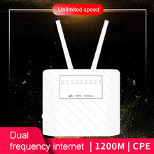 1200Mbps 4G LTE CPE Router CAT6 4G LTE Wireless CPE Router Dual Band 2.4 e 5.8G wireless AP FDD/TDD LTE Sim Card(China)