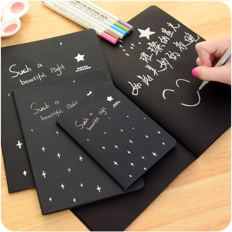 Korean Stationery 16K/32K/56K Galaxy Black Inside Blank Pages Doodle Sketchbook Blank Sketches Notebook School & Office Supplies