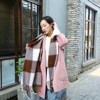 warm tartan scarf tassels 100% wool cashmere plaid shawl wrap for ladies blanket cachecol feminino oversized 200*70 cm