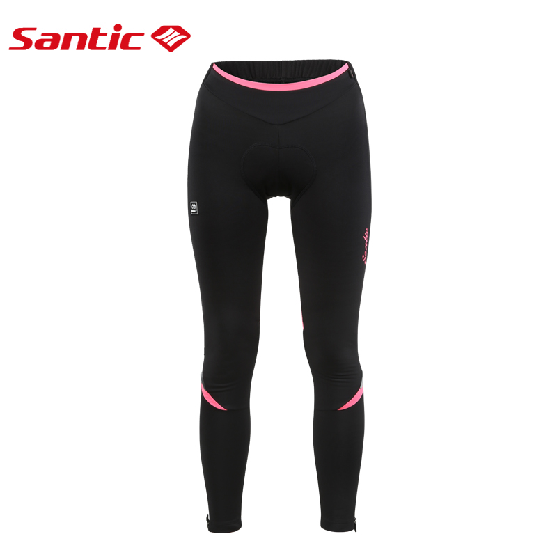 Santic Women Reflective Pants Windproof Thermal Fleece Cycling Pants Winter 4D Cushion Padded Breathable Bike Bicycle