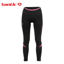 купить Santic Women Reflective Pants Windproof Thermal Fleece Cycling Pants Winter 4D Cushion Padded Breathable Bike Bicycle MTB Pants дешево