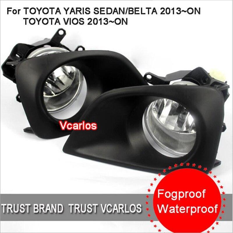 ФОТО Hireno Car Fog lights Lamp Cable Harness Halogen light switch control Set for Toyota vios 2014-16 2Pcs