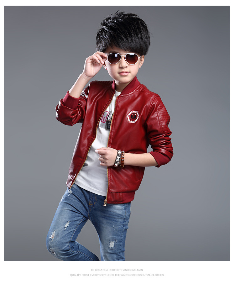 6b2f07f4d 2017 Fashion Teenager Motorcycle Coats Boys Leather Jackets Solid ...