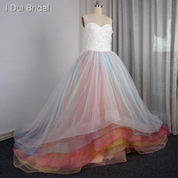 Rainbow Colorful Wedding Dress Ball Gown Tulle Tiered With Handmade Flower Factory Real Photo