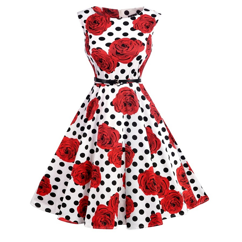 Teenagers Retro Dress 2018 summer Audrey Hepburn Floral Rockabilly Party Prom Cocktail Tea Party Girls Dress Female Vestidos pinup rockabilly special retro atmosphere beautiful generous banquet hoop rabbit ear