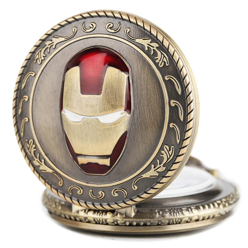 Hot Sale Half Hunter Men Iron Man Theme Pocket Watch Quatz Fob Clock Vintage Pendant Children Birthday Gift Reloj De Bolsillo