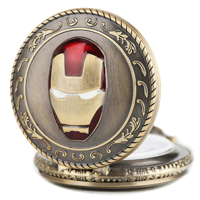 Hot Sale Half Hunter Men Iron Man Theme Pocket Watch Quatz Fob Clock Vintage Pen