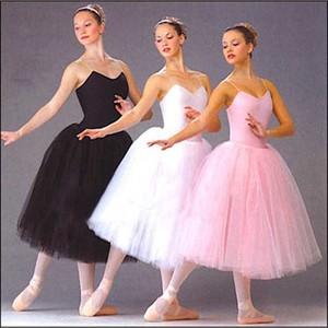Image 1 - Dorosły romantyczny baletowa spódniczka Tutu próba spódnica do ćwiczeń łabędź kostium dla kobiet długi tiul sukienka biały różowy czarny kolor balet nosić