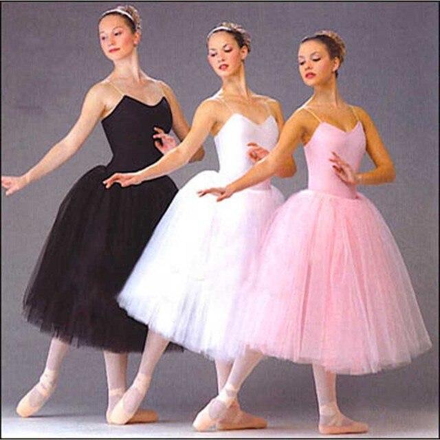 Dorosły romantyczny baletowa spódniczka Tutu próba spódnica do ćwiczeń łabędź kostium dla kobiet długi tiul sukienka biały różowy czarny kolor balet nosić