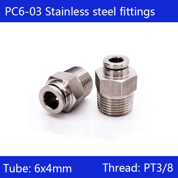 Free shipping 10 pcs/lot 6mm to 3/8 PC6-03,304 Stainless Steel Straight Male Connector пазлы educa пазл 3000 деталей манхэттен