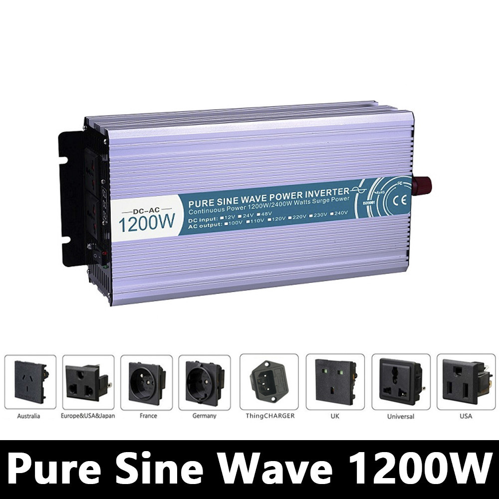 цена на 1200W Pure Sine Wave Inverter,DC 12V/24V/48V To AC 110V/220V,off Grid Solar Power Inverter,voltage Converter For Home Battery