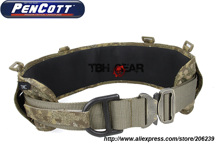 TMC Laser-Cut PALS Padded MOLLE Tactical Military Belt Rigger Belt PenCott BadLands Battle Belt+Free shipping(SKU12050789)
