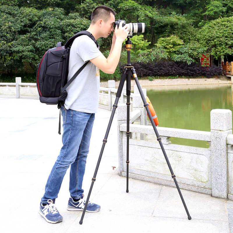 QZSD Chất Lượng Cao Q1000C Nhiếp Ảnh Chuyên Nghiệp camera Sợi Carbon chân máy Du Lịch Tripod Monopod Kit & Bóng Head Cho DSLR