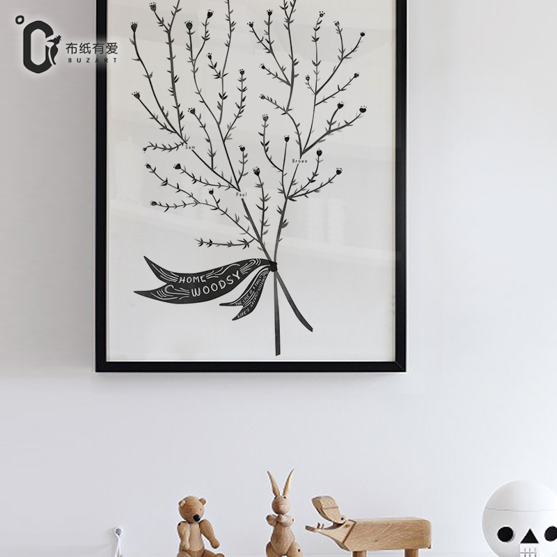 US $5.0 50% OFF|Forest blessing Nordic decoration painting bedroom  background wall painting small fresh canvas paintings No Frame-in Painting  & ...